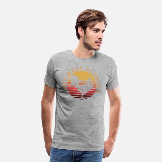 Florida T-Shirts - Key West Chicken / Rooster Sunset Distressed Souvenir Design - Men's Premium T-Shirt heather gray