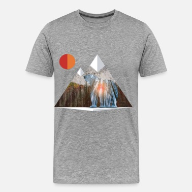Nature Collection Bear Sun Salute in Mountain Forest - Men's Premium T-Shirt