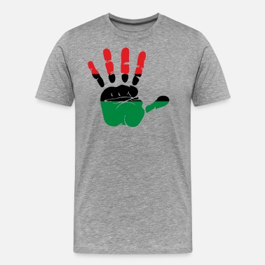 Red Hand Print Pan African Flag Hand Print Sign Afro- American - Men's Premium T-Shirt