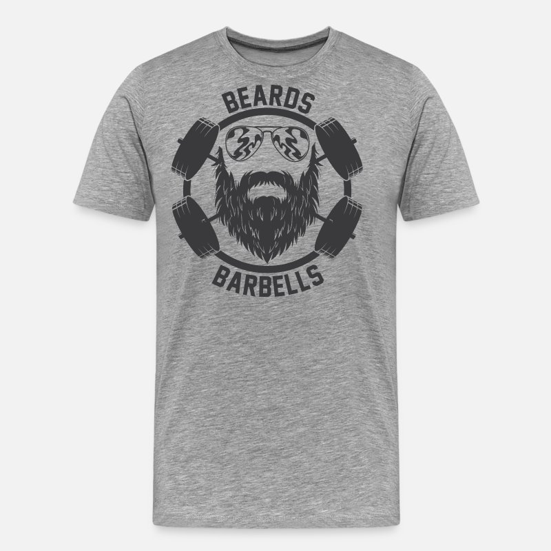 Beard T-Shirts - Funny Beard Barbells Gym T-Shirt - Men's Premium T-Shirt heather gray