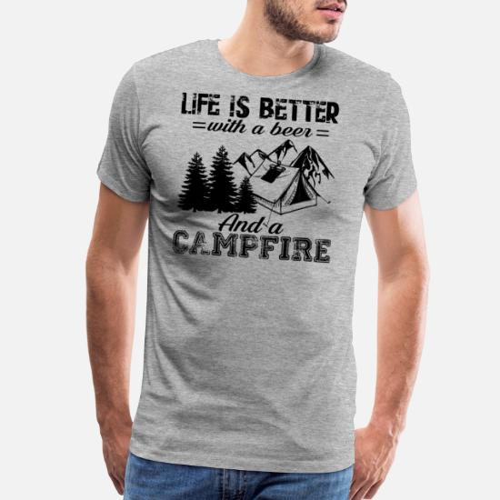28fdbe55 Campfire T-Shirts - Funny Camping With A Beer And Campfire Shirt - Men's  Premium
