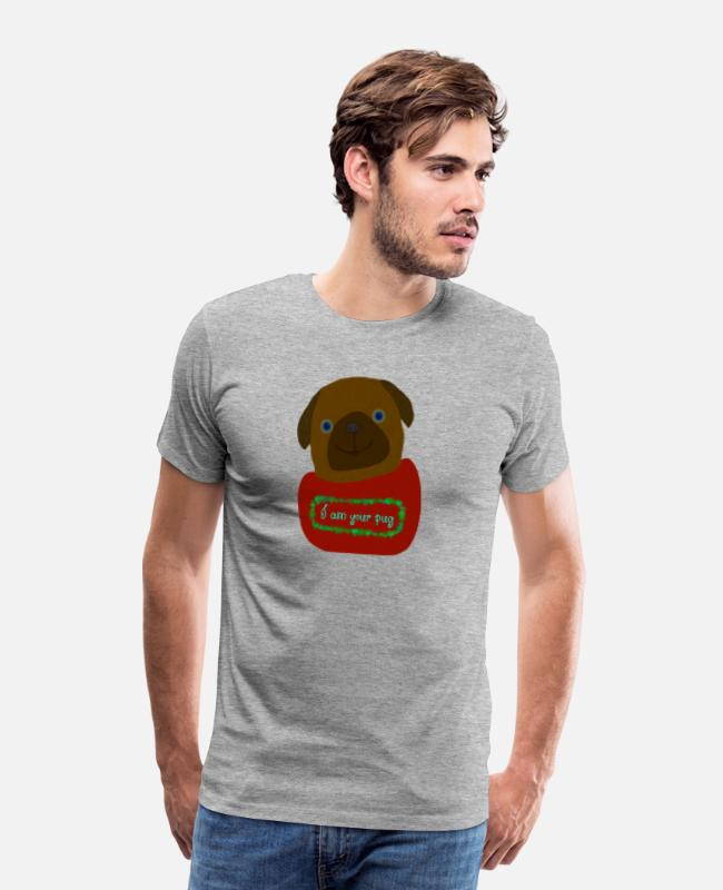 Pug T-Shirts - Pug - Men's Premium T-Shirt heather gray
