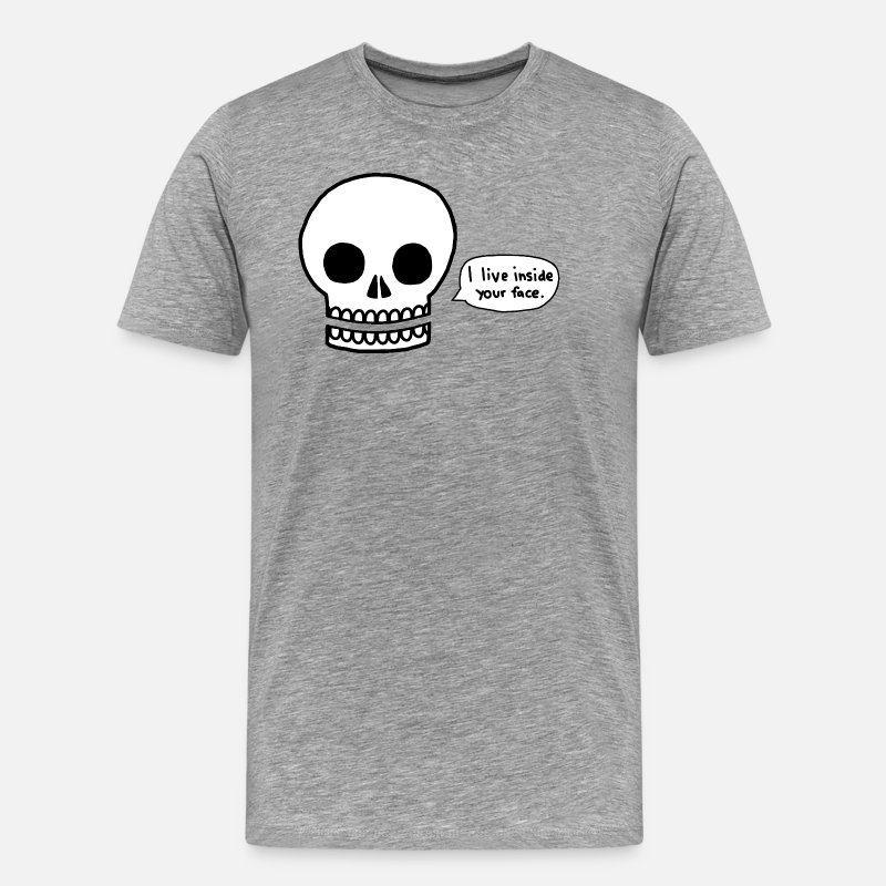 Animal T-Shirts - Funny skull is trolling - Men's Premium T-Shirt heather gray
