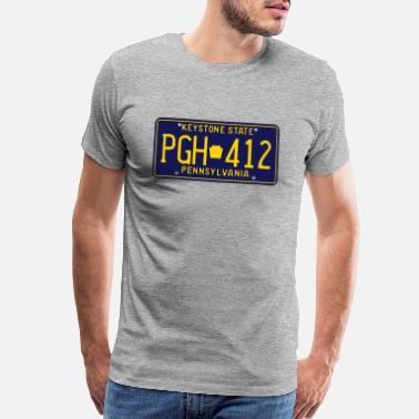 Pgh Pittsburgh Pennsylvania PGH-412 License Plate - Men's Premium T-Shirt