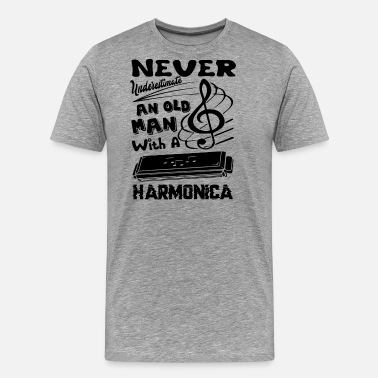 Old Man Old Man With Harmonica Shirt - Men's Premium T-Shirt