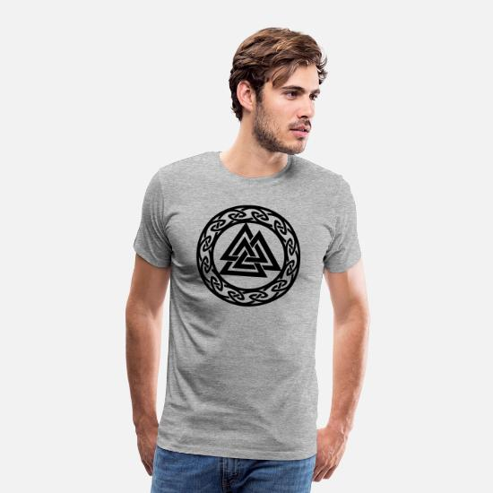 Symbol  T-Shirts - Valknut, Wotan's Knot, Walknot, Odin, Valhalla - Men's Premium T-Shirt heather gray