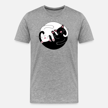Male Cat ying yang cats - Men's Premium T-Shirt