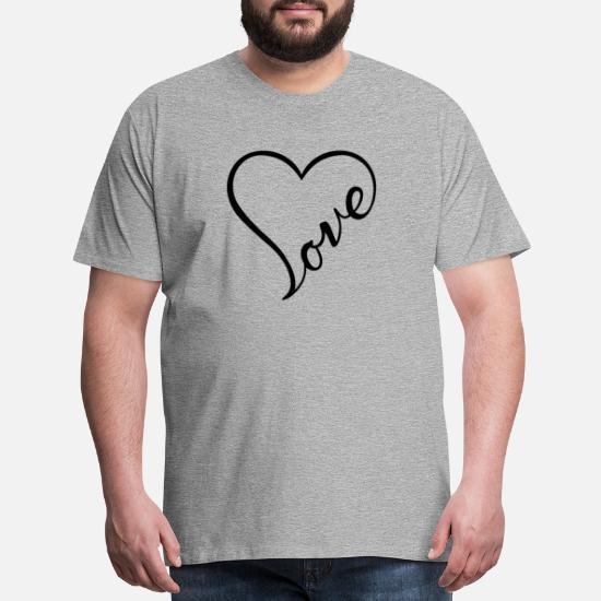 b22efea32 Love - Cursive Heart Design (Black Letters) Men's Premium T-Shirt ...