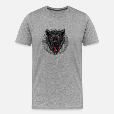 Angry Black Angry wolf head - Men's Premium T-Shirt