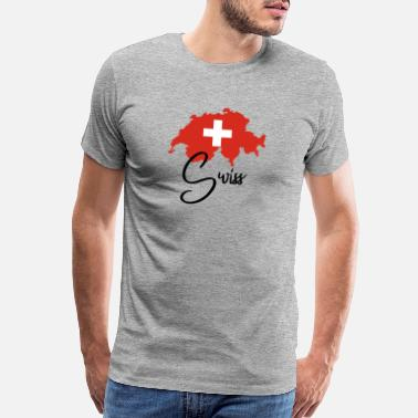 Swiss German Schweiz - Swiss - Switzerland - Flag - Map - Alps - Men's Premium T-Shirt