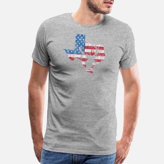 7254c771 Men's Premium T-ShirtAmerican Flag Texas Deer Hunting Distressed T-Shir
