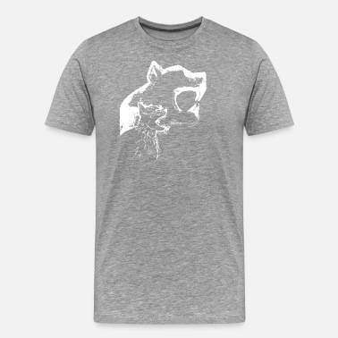 Big Rig hissing cat with wall shadow , cool gift idea - Men's Premium T-Shirt