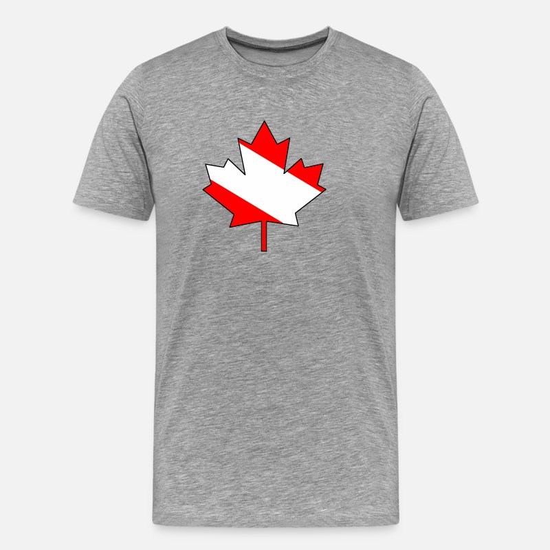 Canadadan T-Shirts - Maple Leaf with white infill and outline - Men's Premium T-Shirt heather gray