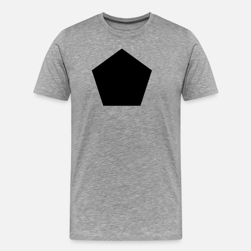 Pentagon T-Shirts - BLACK PENTAGON GEOMETRIC SHAPE SHIRT - Cool Modern - Men's Premium T-Shirt heather gray
