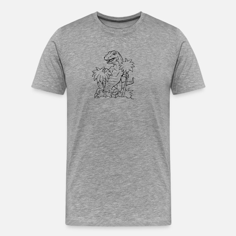 Dinosaurs T-Shirts - coloring dino self Coloring T-Shirt, Dino Party - Men's Premium T-Shirt heather gray