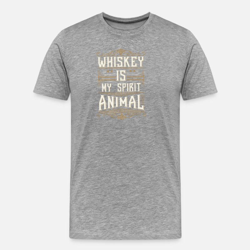 Alcohol T-Shirts - Whiskey is my spirit animal - Men's Premium T-Shirt heather gray