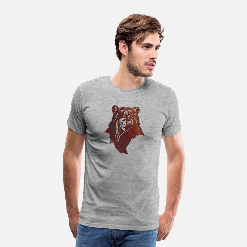 Apache T-Shirts - Bear Chief - Men's Premium T-Shirt heather gray