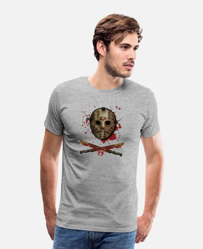 Friday 13th Halloween T-Shirts - Horror Movie Friday 13TH Halloween Jason Mask - Men's Premium T-Shirt heather gray