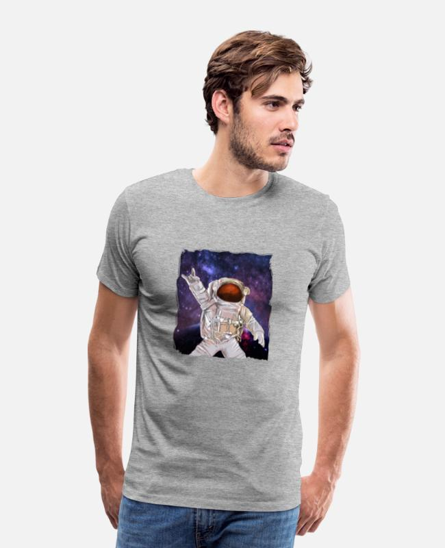 Space T-Shirts - Rock Music Astronaut - Men's Premium T-Shirt heather gray