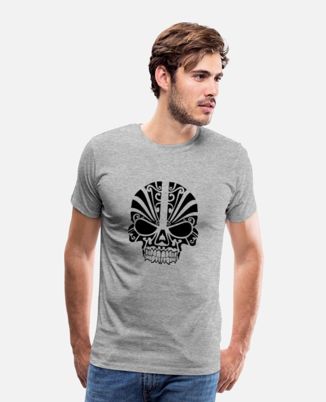 Tribal Tattoo T-Shirts - tribal skull 1280 - Men's Premium T-Shirt heather gray