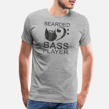 Bass Guitar Bearded Electric Bass Guitar Player Gift - Men's Premium T-Shirt
