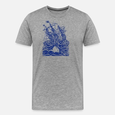 Kraken Giant Octopus T Shirt Vintage Octopus Shirt Sea - Men's Premium T-Shirt