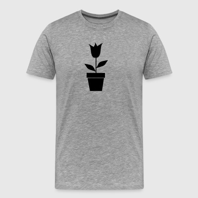 Flower in Pot Silhouette - Men's Premium T-Shirt