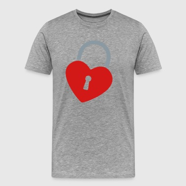 padlock Heart  - Men's Premium T-Shirt