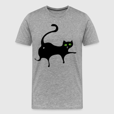 Black cat with green eyes - Men's Premium T-Shirt