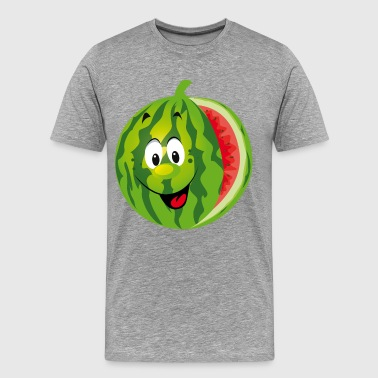 Cartoon watermelon fruit smiling - Men's Premium T-Shirt