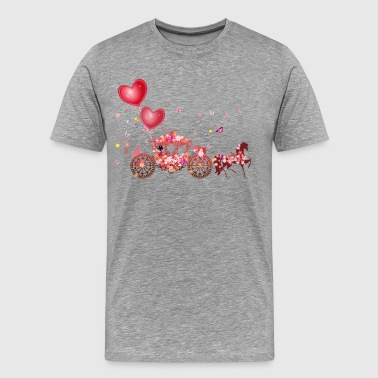 Valentine day romantic horse coach - Men's Premium T-Shirt