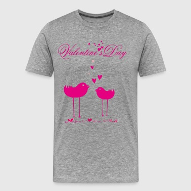 Romantic card with birds in love - Men's Premium T-Shirt