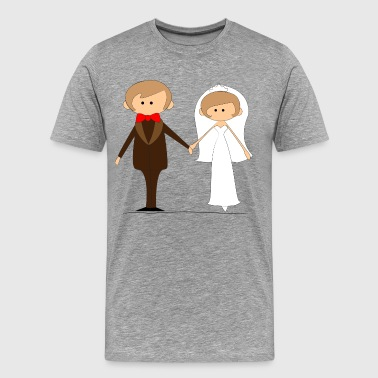 Cartoon style wedding couple - Men's Premium T-Shirt