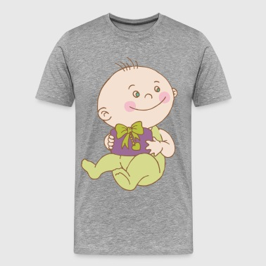 Baby cartoon holding gift box - Men's Premium T-Shirt