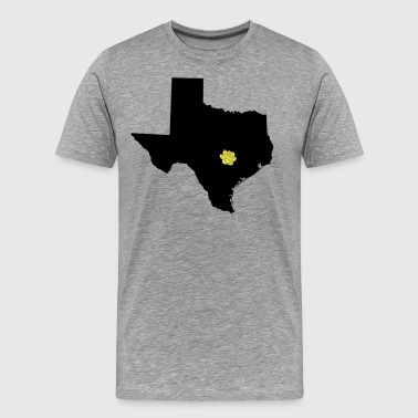 Texas and Yellow Rose on Austin Capital - Men's Premium T-Shirt