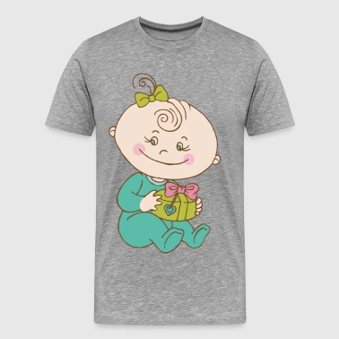 Baby cartoon with gift box - Men's Premium T-Shirt