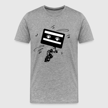 Retro cassette with music notes. Music logo. - Men's Premium T-Shirt