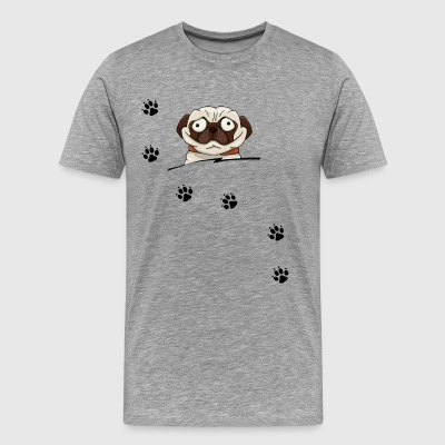 crazy eyes pug lovers tracks trail traces - Men's Premium T-Shirt