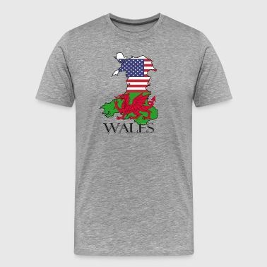 Welsh heritage Flags of Wales & USA - Men's Premium T-Shirt
