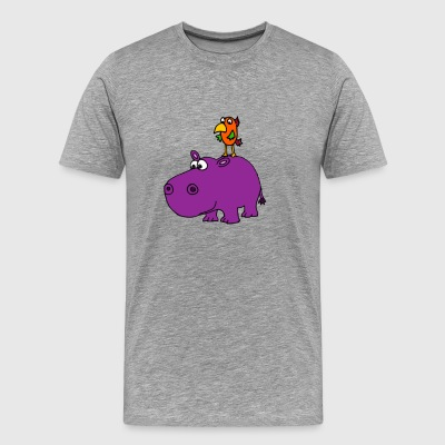 Awesome Funny Purple Hippo With Parrot Bird Art - Men's Premium T-Shirt