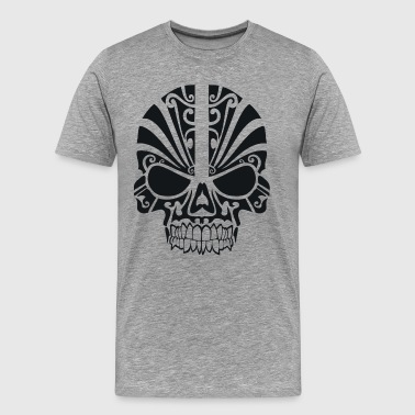 Tribal Tattoo Skull Death's Head Skeleton Tribe T- - Men's Premium T-Shirt
