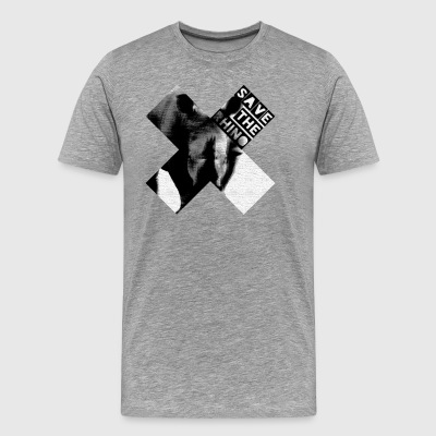 3D Save The Rhino (Black and White) - Men's Premium T-Shirt