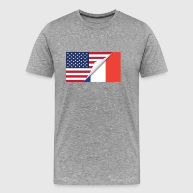 Half American Half French Flag - Men's Premium T-Shirt