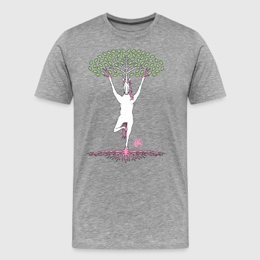 Tree Pose Unicorn With Leaves And Roots Outline - Men's Premium T-Shirt