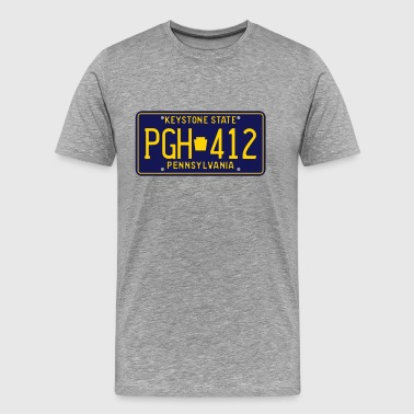 Pittsburgh Pennsylvania PGH-412 License Plate - Men's Premium T-Shirt