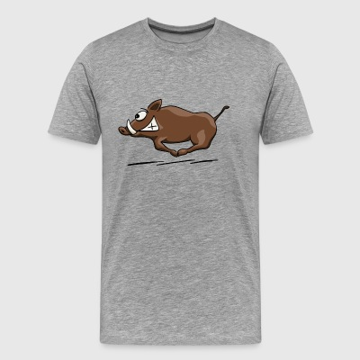 wild boar running at full speed through forest - Men's Premium T-Shirt