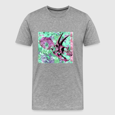 Pink Dinosaur Skull Colorful Pattern - Men's Premium T-Shirt