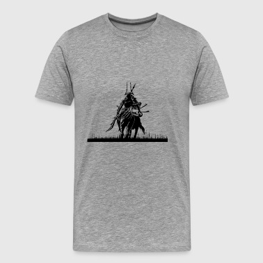 Cool samurai on a horse - Men's Premium T-Shirt