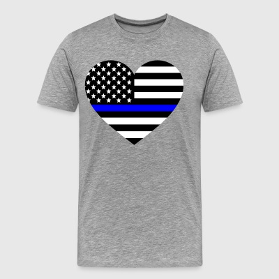 Thin blue line Heart Police Support - Men's Premium T-Shirt