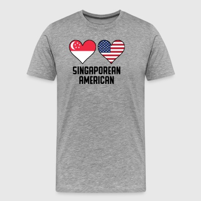 Singaporean American Heart Flags - Men's Premium T-Shirt